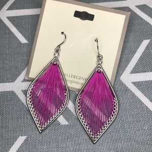 Accessories - Violet threaded diamond shaped earrings / purple /